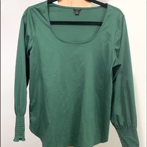 Ann Taylor Emerald Green Shiny/Stretchy Work Top